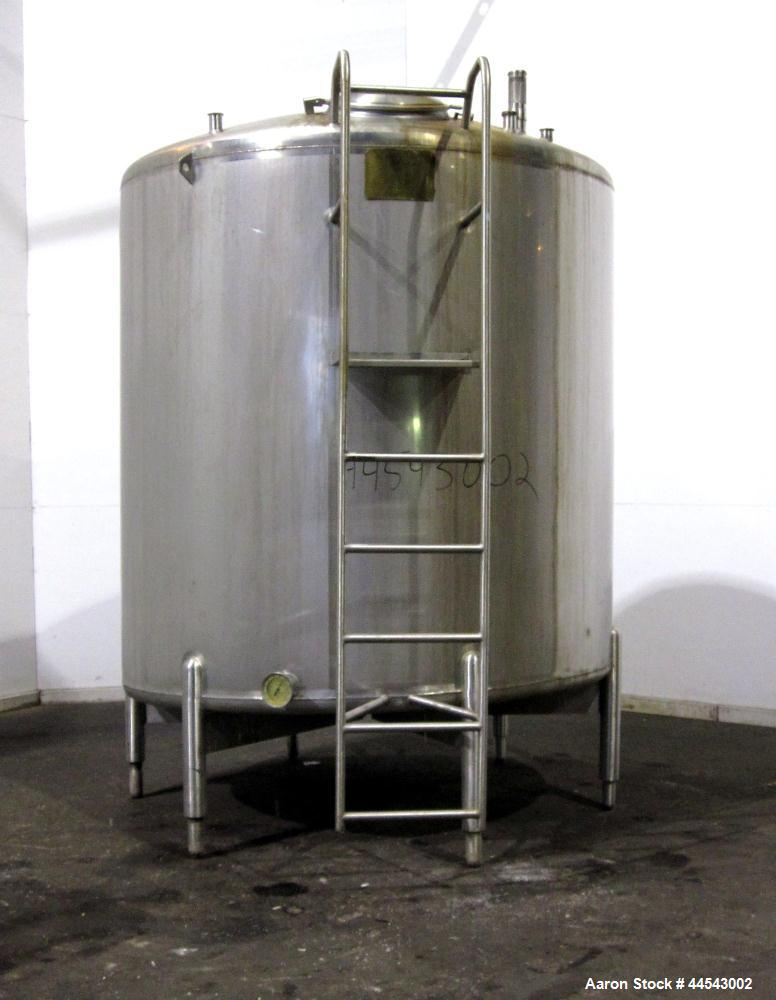 """Used- Cherry Burrell Tank, 2000 Gallon, 304 Stainless Steel, Vertical. 84"""" Diameter x 81"""" straight side, dished top, sloped ..."""