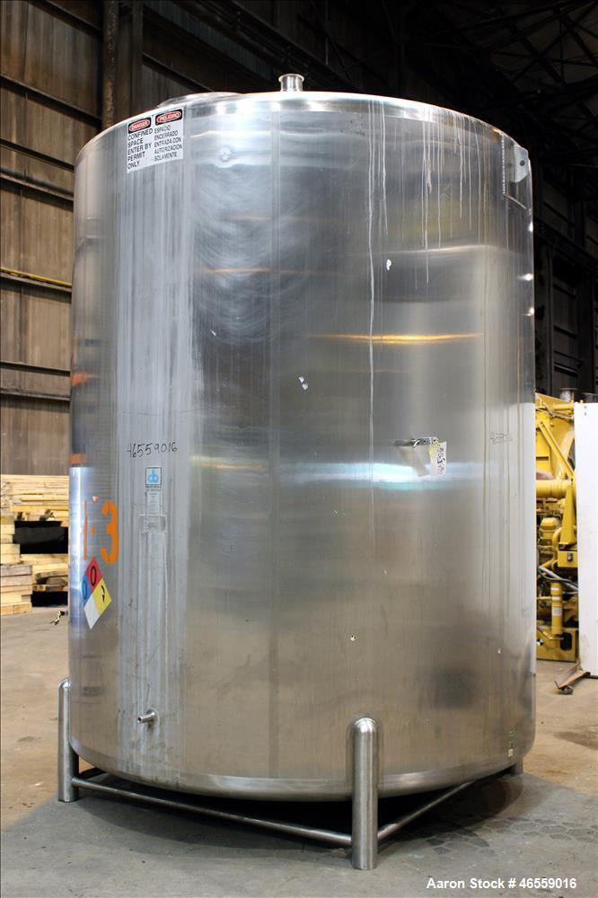 "Used- Cherry Burrell Tank, 4,500 Gallon, 316 Stainless Steel, Vertical. Approximate 104"" diameter x 120"" straight side. Sing..."