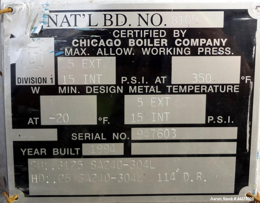 """Used- Chicago Boiler Company Pressure Tank, 8000 Gallon, 304L Stainless Steel, Horizontal. 114"""" diameter x 144"""" straight sid..."""