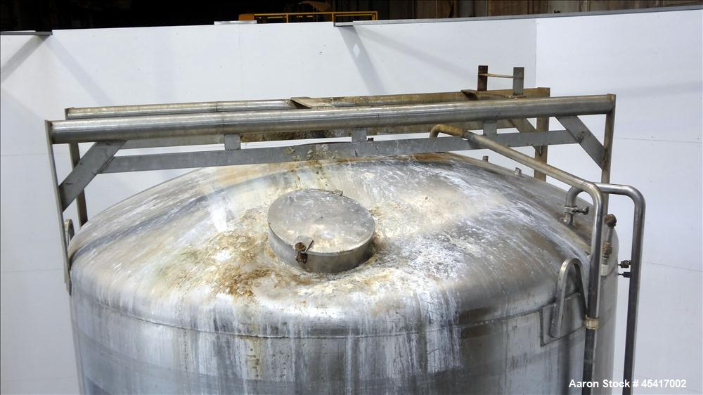"Used- Crepaco Tank, 3500 Gallons, 304 Stainless Steel, Vertical. Approximate 96"" Diameter x 118"" Straight Side. Dish top (de..."