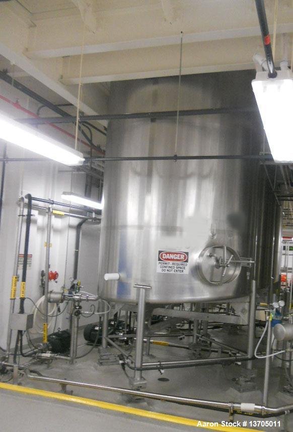 Used-3000 Gallon DCI Sanitary Stainless Steel Vertical Mix Tank, type 316L sanitary stainless steel construction.  7' Diamet...
