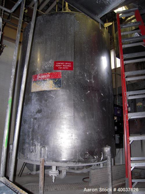 "Used- Ertel Tank, 2000 gallon, stainless steel, vertical. Approximately 80"" diameter x 96"" straight side. Slight dished top ..."