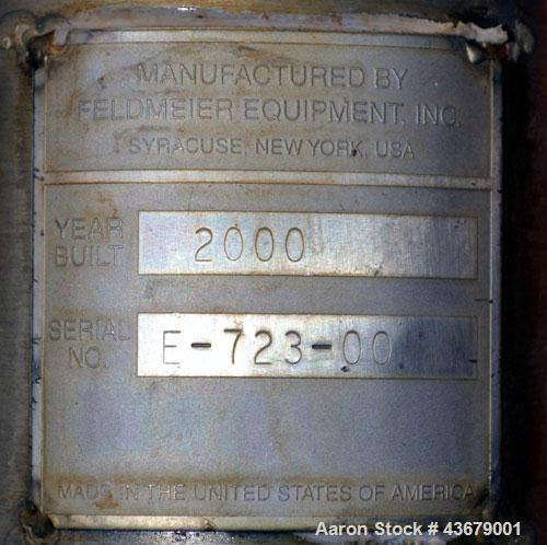"""Used- Feldmeier Tank, 1,500 Gallon, 316 Stainless Steel, Vertical. 72"""" Diameter x 78-1/2"""" straight side, dished top and bott..."""