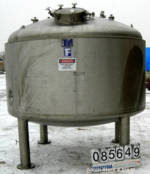 """USED: Feldmeier pressure tank, 1500 gallon, 316L stainless steel, vertical. 96"""" diameter x 42"""" straight side, dished top and..."""
