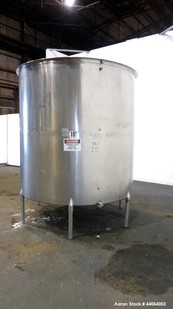 """Used- Filpaco Tank, 2000 Gallons, 304 Stainless Steel, Vertical. 86"""" Diameter X 84"""" straight side, open top with (2) covers,..."""