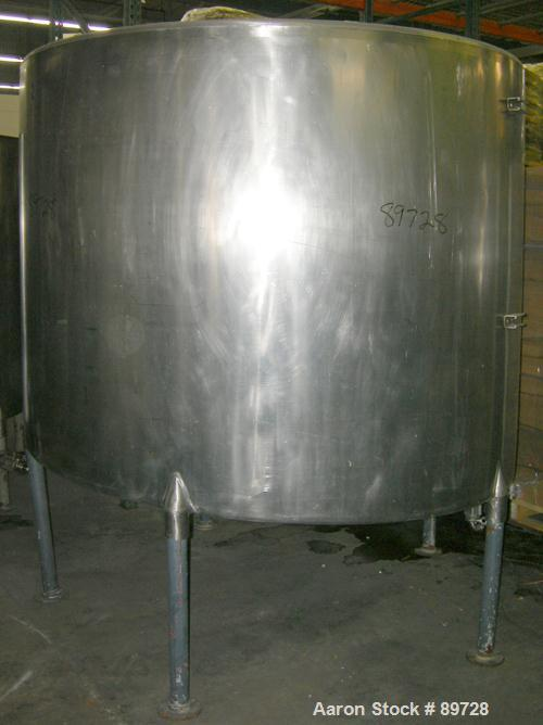 """USED: G & F Manufacturing tank, 1000 gallon, 304 stainless steel, vertical. 74"""" diameter x 58"""" straight side, slight coned t..."""