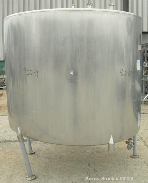 "USED: G & F Manufacturing tank, 1000 gallon, 304 stainless steel, vertical. 74"" diameter x 58"" straight side, slight coned t..."