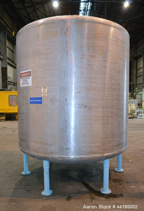 "Used- Groen Tank, 2500 Gallons, 304 Stainless Steel, Vertical. 90"" Diameter x 78"" straight side, dished top and bottom. Open..."