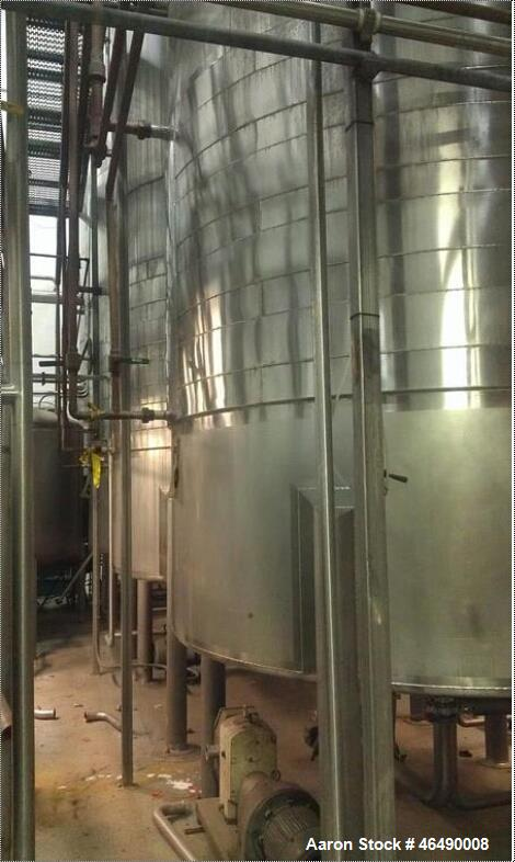 "Used-J.V. Northwest Tank, 4500 Gallon, 304 Stainless Steel, Vertical. 84"" Diameter x 180"" straight side, 15 degree coned top..."