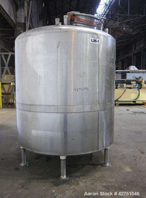"Used- Langsenkamp Tank, 2000 Gallon, 304 Stainless Steel, Vertical. 84"" Diameter x 78"" straight side, dished top, coned bott..."
