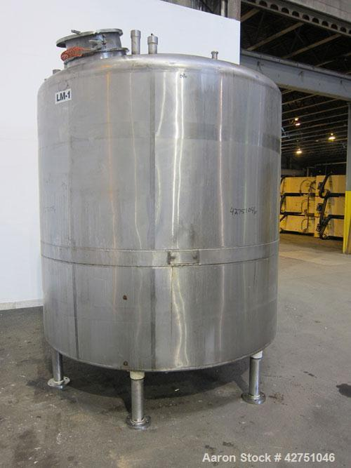 """Used- Langsenkamp Tank, 2000 Gallon, 304 Stainless Steel, Vertical. 84"""" Diameter x 78"""" straight side, dished top, coned bott..."""