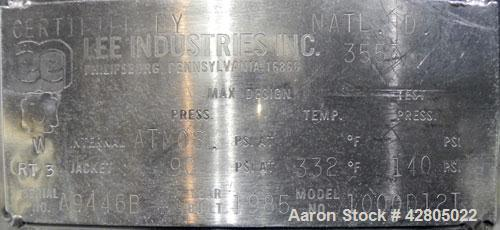 "Used- Lee Industries Kettle, 1,000 Gallon, Model 1000D12T, 316 Stainless Steel, Vertical. 72"" Diameter x 74'' deep, open top..."