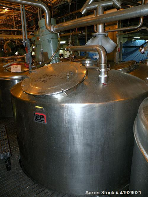 "Used- Lee Metal Products Tank, 2000 Gallon,  Stainless Steel, Vertical. 76"" diameter x 106"" straight side, dished top and bo..."