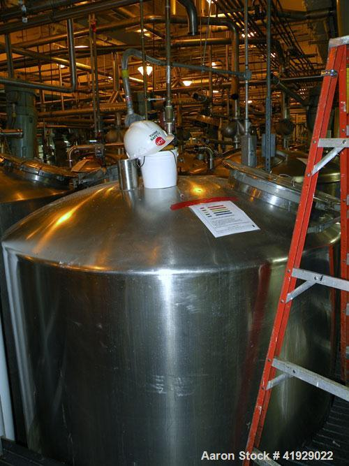 "Used- Lee Metal Products Tank, 2000 Gallon, Stainless Steel, Vertical. 76"" diameter x 106"" straight side, dished top and bot..."