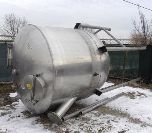 "Used- Lee Metal Products Tank, 1500 Gallon, 316 stainless steel, vertical. 76"" diameter x 56"" straight side. Dished 304 stai..."
