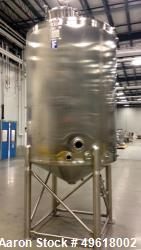 "Unused Feldmeier Single Shell Tank, 1,200 Gallon, 316L Stainless Steel. Offset top center agitator with (2), 24"" blades. 3 H..."