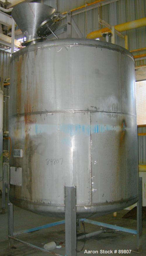 "USED: Approximate 2,000 gallon stainless steel tank built by Metal Equipment Co. Dished heads. Approximately 6'8"" diameter x..."