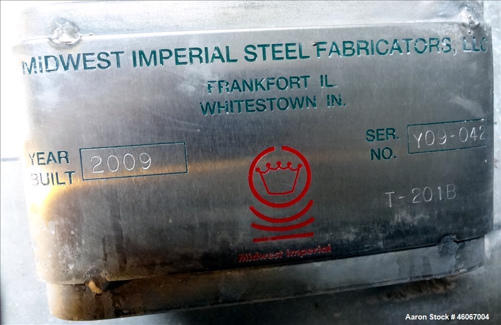 Used- Midwest Imperial Steel Fabricators Dispersion Tank, Approximately 2000 Gallon, 304 Stainless steel, Vertical. Approxim...