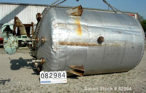 """USED: Modern Welding pressure tank, 4200 gallon, 316L stainless steel, vertical. 96"""" diameter x 125"""" straight side. Dished t..."""