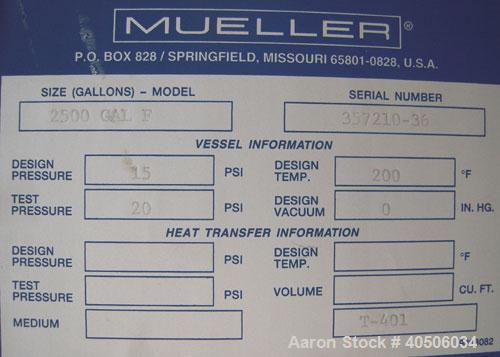 "Unused- Mueller Pressure Tank, 2500 Gallon, Model ""F"", 304L Stainless steel, Vertical. 84"" diameter x 96"" straight side, dis..."