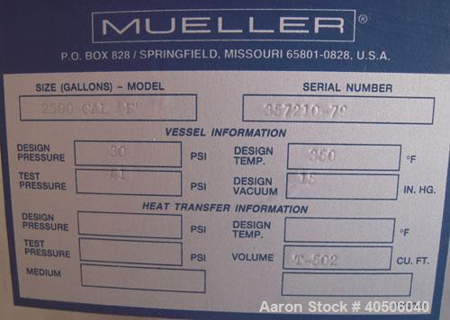 "Unused- Mueller Pressure Tank, 2,500 Gallon, Model ""F"", 304 stainless steel, vertical. 72"" diameter x 144"" straight side, di..."