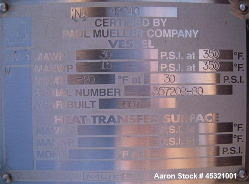 "2500 Gallon Stainless Steel Mueller Pressure Tank, Model ""F"""