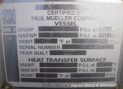 "Unused- Mueller Coalescer Pressure Tank, 1600 Gallon, Model ""H"", 304L stainless steel, horizontal. 48"" diameter x 204"" strai..."