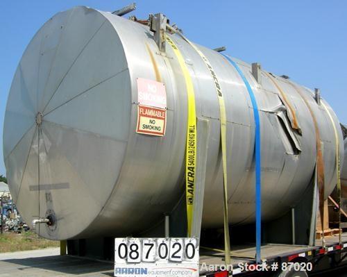 "Used- Mueller Pressure Tank, 4000 gallon, 316L stainless steel, horizontal. 96"" diameter x 154"" straight side. Dished heads...."