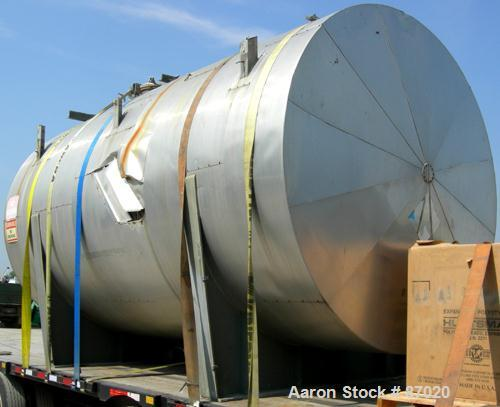 """Used- Mueller Pressure Tank, 4000 gallon, 316L stainless steel, horizontal. 96"""" diameter x 154"""" straight side. Dished heads...."""