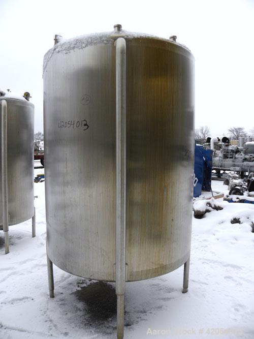"""Used- Lake Process Systems Tank, 1000 Gallon, Model LPS-1000, 304 Stainless Steel, Vertical. 60"""" diameter x 72"""" straight sid..."""