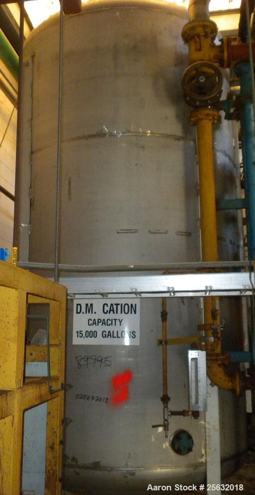 Used- Storage Tank, Approximate 3750 Gallon, Stainless Steel, Vertical. Approximately 7' diameter x 12' straight side, dish ...
