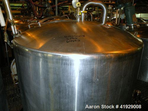"""Used- Tank, 1900 Gallon, stainless steel, vertical. 76"""" diameter x 96"""" straight side, dished top, coned bottom. Openings: to..."""