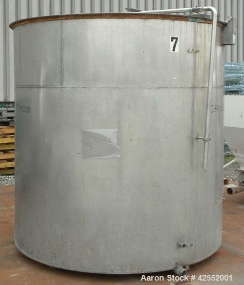 "Used- Tank, 2000 Gallon, 304 Stainless Steel, Vertical. 84"" Diameter x 81"" straight side. Flat welded top, sloped bottom, wi..."