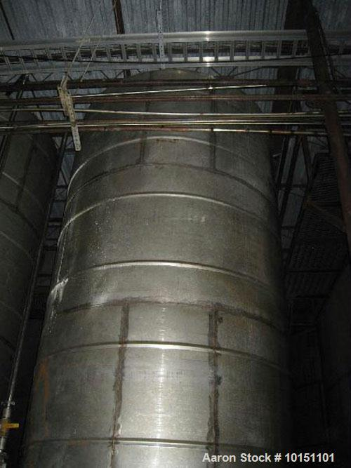 "Used-Approximately 4,500 gallon vertical stainless steel tank.  7'3"" Diameter x 16'6"" straight side.  Flat top and cone bott..."