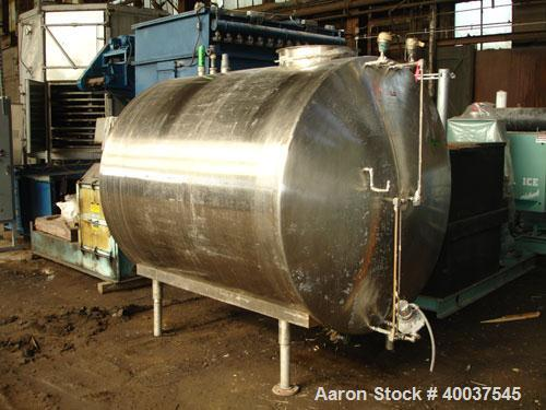"""Used- Tank, 1200 gallon, stainless steel, horizontal. Approximately 66"""" diameter x 72"""" straight side, dished ends. Top manwa..."""