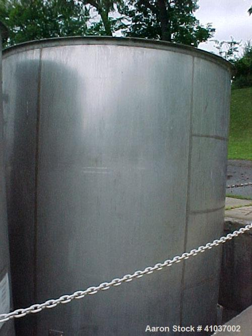 """Used- Tank, 3200 Gallon, 93"""" diameter x 11'2"""" height. 316 Stainless Steel, Vertical. Open top, Mixer System: Single S.S. sha..."""