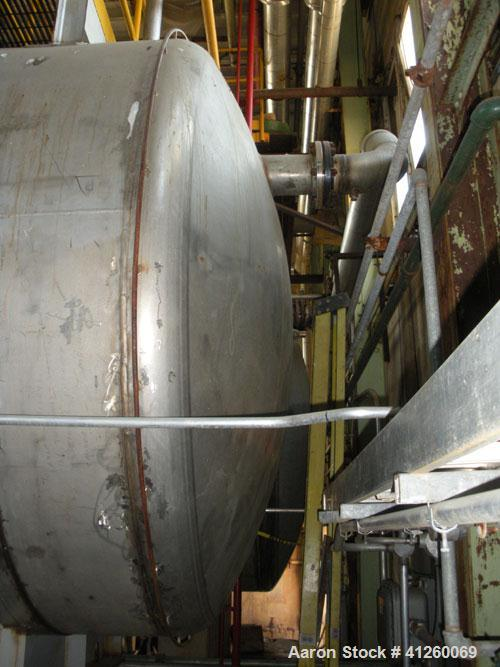 """Used- Noralta Tank, 5,000 Gallon, 304 Stainless Steel, Horizontal. Approximately 8' diameter x 12' 9"""" straight side."""