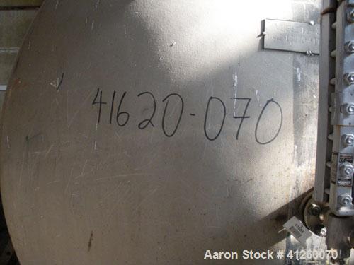 "Used- Tank, 1,500 Gallon, Stainless Steel,  Horizontal. 6' diameter x  7'6"" straight side, top 20"" manway."