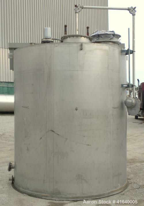"Used- Bendel Tank, 3,000 Gallon, 304 Stainless Steel, Vertical. 94"" diameter x 108"" straight side, coned top, sloped bottom...."
