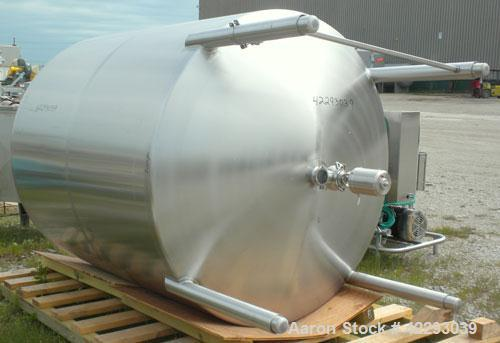 """Used- Tank, 1200 Gallon, 316 Stainless Steel, Vertical. 70"""" Diameter x 72"""" straight side, dished top and bottom. Openings: t..."""