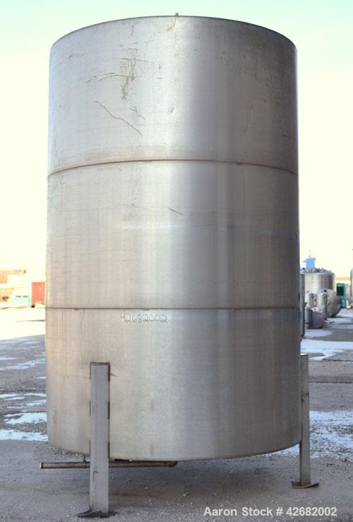 "Used- Tank, 4500 Gallon, 301 Stainless Steel, Vertical. Approximate 96"" diameter x 144"" straight side, coned top and bottom...."