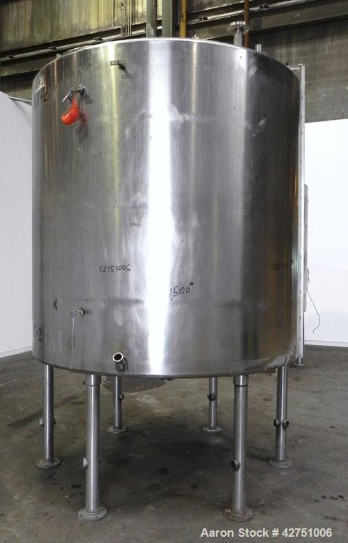 "Used- Tank, 2000 Gallon, Stainless Steel, Vertical. 84"" Diameter x 80"" straight side. Dished top, coned bottom. Off center t..."