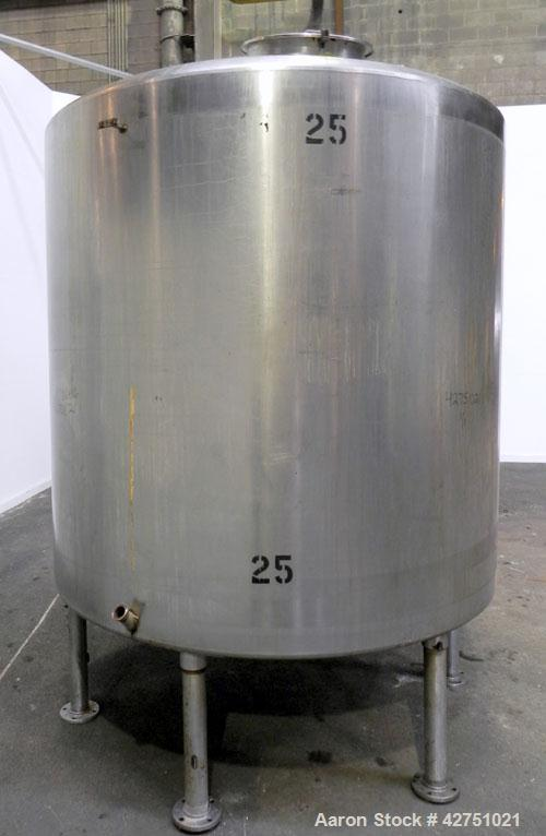 "Used- Tank, 2000 Gallon, 304 Stainless Steel, Vertical. 84"" Diameter x 80"" straight side. Dished top, coned bottom. Off cent..."