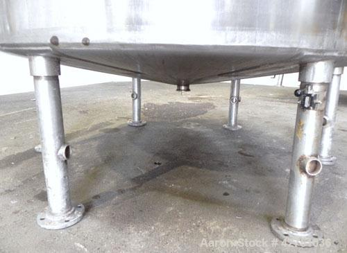 "Used- Tank, 2000 Gallon, 304 Stainless Steel Vertical. 84"" Diameter x 80"" straight side. Dished top, coned bottom. Openings ..."