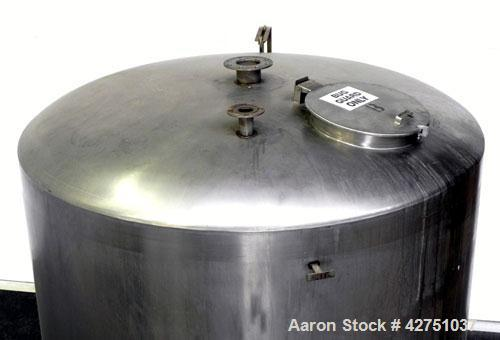 """Used- Tank, 2000 Gallon, 304 Stainless Steel Vertical. 84"""" Diameter x 80"""" straight side. Dished top, coned bottom. Openings ..."""