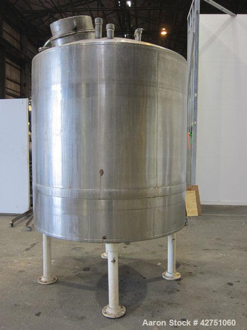 """Used- Tank, 1000 Gallon, 304 Stainless Steel, Vertical. 66"""" Diameter x 66"""" straight side, dished top, coned bottom. Off cent..."""