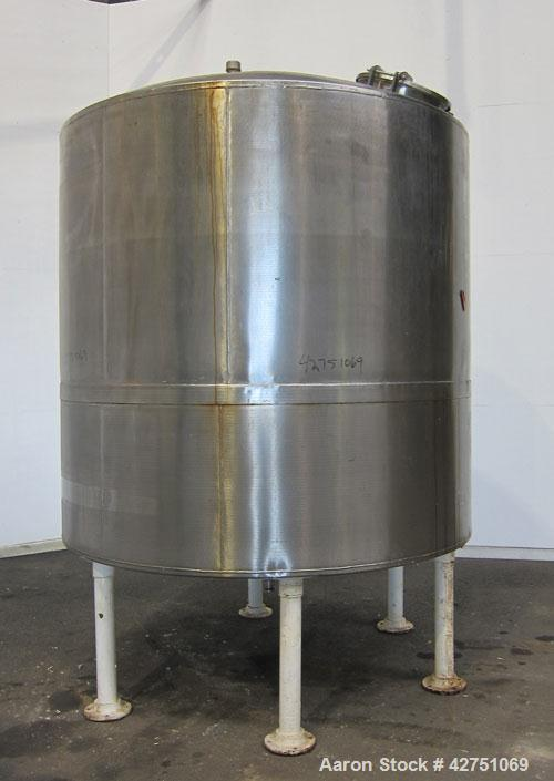 """Used- Tank, 2000 Gallon, 304 Stainless Steel, Vertical. 84"""" Diameter x 84"""" straight side. Dished top, coned bottom. Openings..."""
