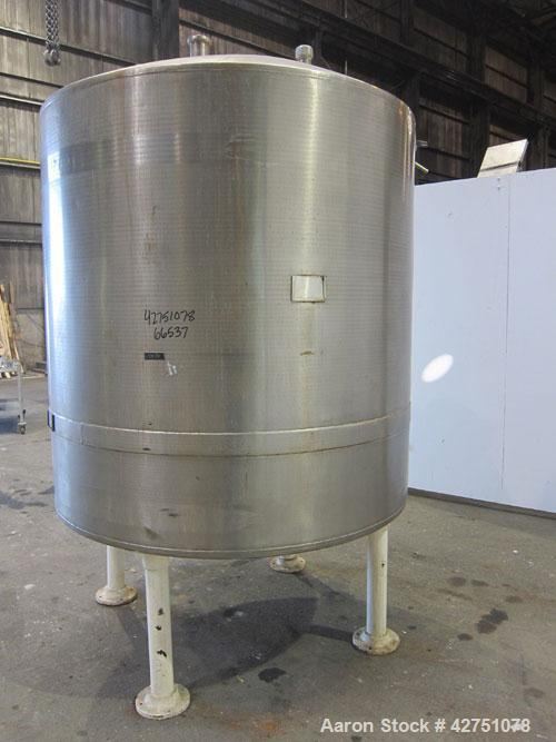 """Used- Tank, 1000 Gallon, 304 Stainless Steel, Vertical. 66"""" Diameter x 66"""" straight side, dished top, coned bottom. Openings..."""