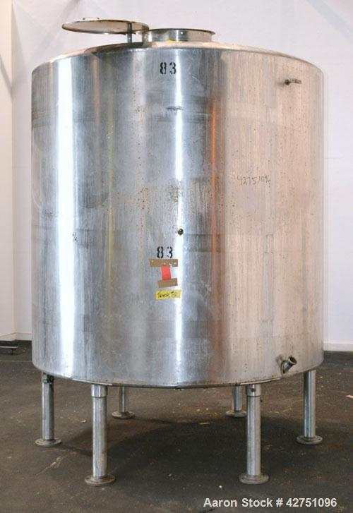 """Used- Tank, 2000 Gallon, 304 Stainless Steel Vertical. 84"""" Diameter x 80"""" straight side. Dished top, coned bottom. Off cente..."""