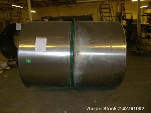 """Used-1200 Gallon Stainless Steel Tank, open top (with lid), cone bottom. 6'1"""" wide x 7' long, 2"""" outlet on bottom. Agitator ..."""